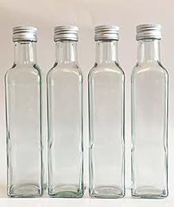 """12 leere Glasflaschen """"Maraska"""" & ETIKETTEN 500 ml incl. Schraubverschluss, Eckig, zum selbst Abfüllen Likörflasche Schnapsflasche Silber Vitrea Rezeptheft"""