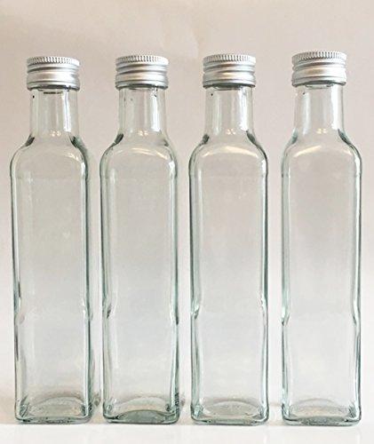 """12 leere Glasflaschen """"Maraska"""" 250 ml incl. Schraubverschluss, Eckig, zum selbst Abfüllen Likörflasche Schnapsflasche Silber Vitrea Rezeptheft"""
