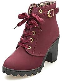 4ff6121b8977f4 Riou Damen Hohe Absätzen Schnürstiefel Elegant Stiefeletten Kurzschaft  Chelsea Boots mit Blockabsatz…