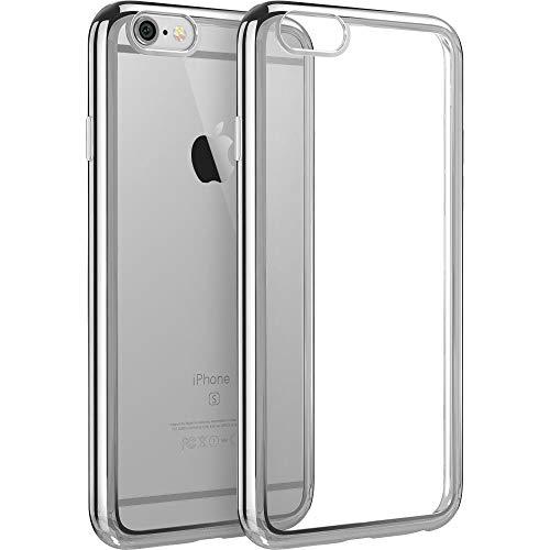 ESR Kompatibel mit iPhone 6 / 6S Hülle (4,7 Zoll), Twinkler Series [0.8mm Ultra Dünne] Weiche Silikon Schutzhülle TPU Transparent Zurück mit Überzug Farbig Rahmen Hülle für iPhone 6/6S - Silber (Iphone 6 Rahmen)
