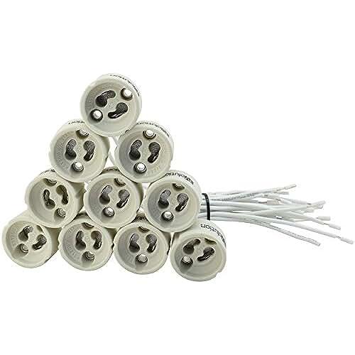 figuras kawaii porcelana fria Paquete de 20 unidades EVolution GU10 Versión Zócalo Cerámica con 0,75mm² calidad de cable silicona para LED y halógeno