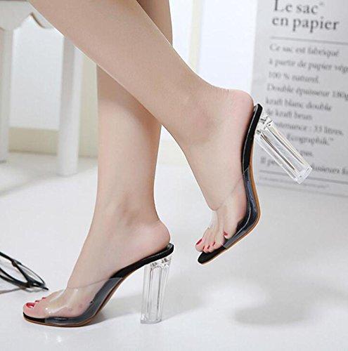 Beauqueen Sandalen Open-Toe Transparente Obere Chunky High Heel Elegante Schuhe EU Größe 35-40 Black