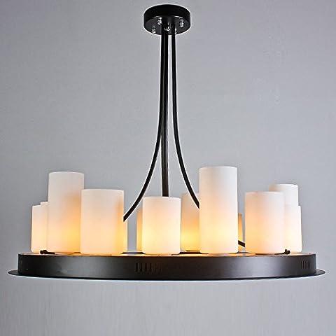 CLG-FLY Nuova creative nero ferro battuto lampadario sfumature di vetro in ferro battuto in stile lampadario di illuminazione in corrispondenza del fondo lampadario Hotel,90*35*86 (15, 2 la luce spot),nero opaco