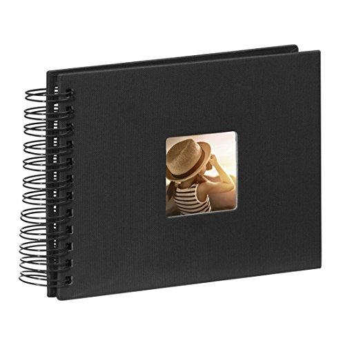 Hama Fotoalbum Spiralalbum (50 schwarze Seiten, 25 Blatt, Größe 24 x 17 cm, mit Ausschnitt für Bildeinschub, Fotobuch) schwarz