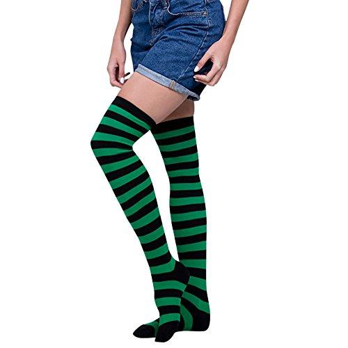 SuperSU Frauen Sexy Regenbogen Oberschenkel hoch über dem Knie Socken Strümpfe Stockings Langer Über Kniestrümpfen Halloween Cosplay Zusätze für Karnevals Party Stützen Fußball Socks Clown Kostüm (E)