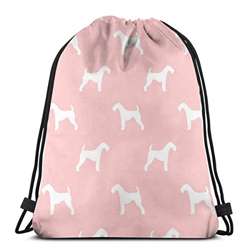 Samsonite-silhouette (Airedale Terrier Dog Breed Pet Quilt D Quilt Silhouette Coordinate Quilt Dog_2451 Custom Drawstring Shoulder Bags Gym Bag Travel Backpack Lightweight Gym for Man Women 16.9