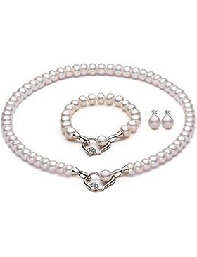 La vivacita Eternal Luxus Halskette Armband Ohrringe Set echte Perle 925Sterling Silber hochwertige Geschenk...