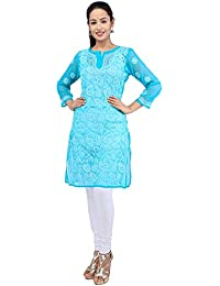 BDS Chikan Hand Embroidered Lucknow Chikankari Sea Green Colour Georgette Kurti For Women - BDS00830