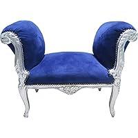 Casa-Padrino Taburete Taburete Barroco Royal Blue/Silver - Bench - Antique Furniture Style - Muebles de Dormitorio precios