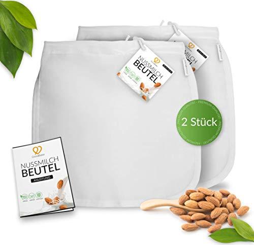 GoodBake 2er Set Premium Nussmilchbeutel für vegane Mandelmilch, Haselnussmilch, feinmaschiges Passiertuch, Filtertuch für Smoothies & Kaffee (30x30cm)