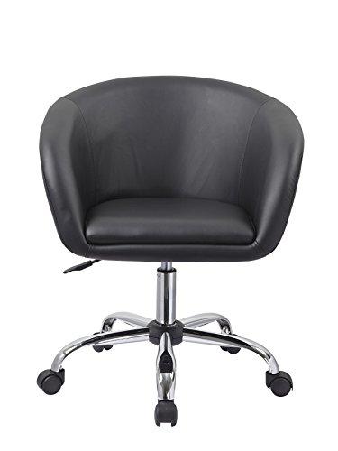 Drehstuhl mit Rollen Schwarz Schreibtischstuhl Arbeitshocker aus Kunstleder Hocker Kosmetikhocker Duhome 0541