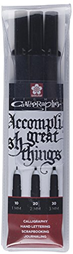 Sakura PIGMA CALLIGRAPHER Kalligraphie-Fineliner SET (3 Stifte, schwarz)