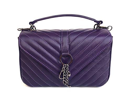 Superflybags Umhängetasche aus echtem Leder, gesteppt, Modell VERSAILLES SMALL Made in Italy, Violett - violett - Größe: S -