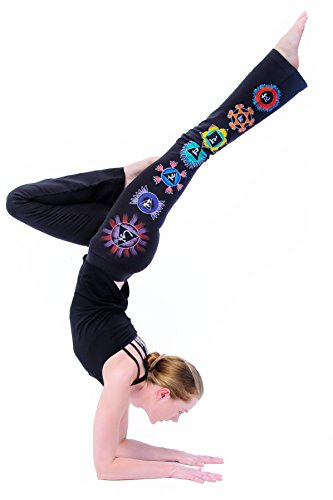 Yogamasti Mujer Pintada a Mano Chakra Yoga Pantalones Negro UK14/eu42/US10