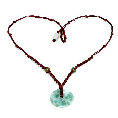 Donut Anhänger Halskette | natur Halbedelstein burmesische Jadeit grün Stone | braun gewachst Weave Cord | Geschenk ()
