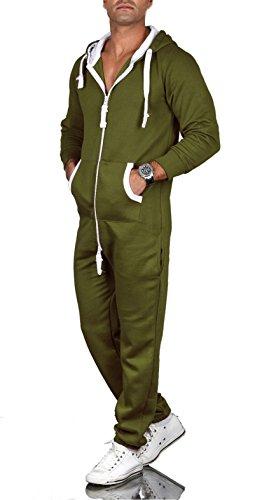 A. Salvarini Herren Jumpsuit Overall Jogging Anzug Trainingsanzug Jogger Sportanzug AS-039 (Gr. XL, Olive)