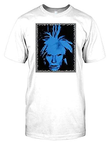 Mens t-shirt DTG Print - Andy Warhol Blue Face - Pop Art - - White - Mens 38-40
