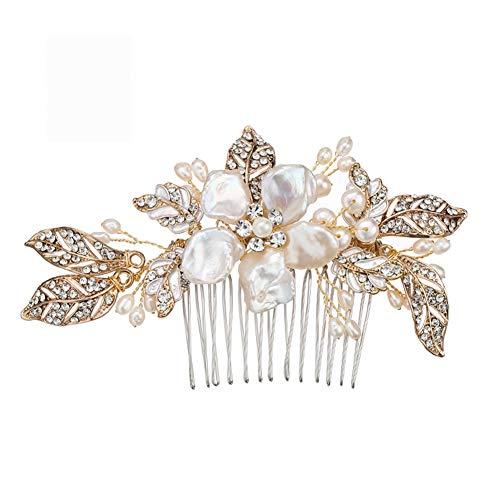 aus gebürstetem Gold und Elfenbein Perle Hochzeit Kamm - Crystal Jeweled Braut Haarschmuck ()
