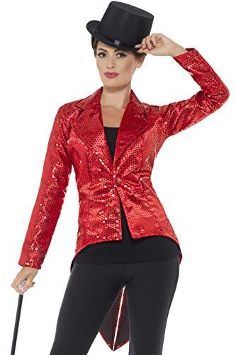 Smiffys Damen Pailletten Frack Jacke, Größe: 40-42, Rot, 46958