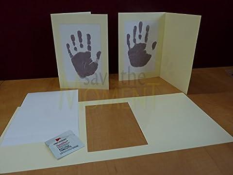 1 x Tinte weniger Hand drucken und Fuß drucken Baby Rahmen Karte Kit. Kind oder Neugeborenes Andenken. Danke Karten. Vervollkommnen Sie für Weihnachtskarten oder als Geschenk.