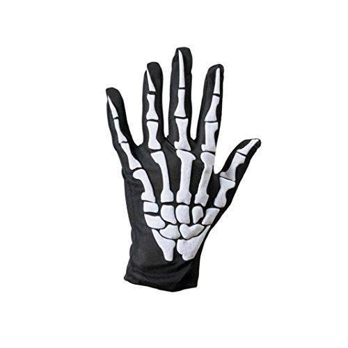 hädel Knochen Skelett Voll Finger Warmen Handschuhe (Weiß) (Skelett Handschuhe Knochen)