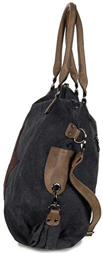 f67995fdf6c61 LS Collection Shopper Tasche mit Stern Große Handtasche aus Canvas ...