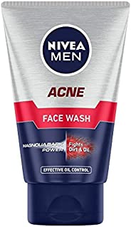 NIVEA Men Acne Face Wash for Oily & Acne Prone Skin, Fights Oil & Dirt with Magnolia Bark Powe