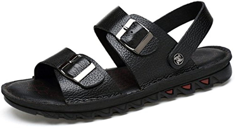 GCH Cuero Verano Calzado de Playa Grandes Astilleros Hombres Zapatillas Sandalias,Negro,41