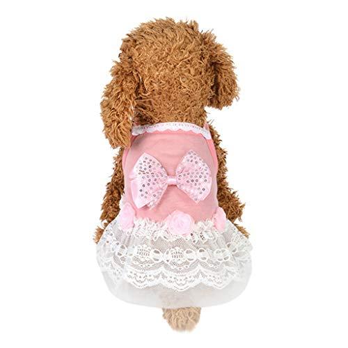 T.boys's Haustier Hund Katze Kleider Welpen Bogen Gaze Spitze Tutu Kleid Rock Katze Pet Dog Pailletten Prinzessin Kostüm Nette Kleidung Bekleidung (L, ()