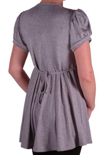 EyeCatch - Tunique manches courtes col en V - Sierra - Femme - Grandes Tailles Gris