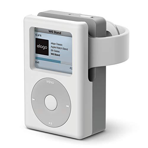 elago W6 Ständer Kompatibel mit Apple Watch Serien 4/3/2/1 (44,42,40,38mm) - [Vintage Medea Player Design] [Unterstützt Nachttischmodus] [Kabelmanagement] - Weiß Apple-ipod-serie