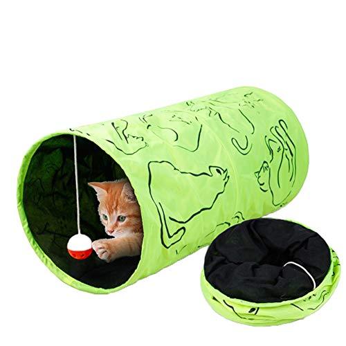 Tancurry Katzen Sicher Katzenspielzeug mit Einem Anhänger Katzentunnel Spieltunnel