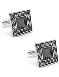 Square Black With Silver Design Border Cufflinks With Enamel Finish In A Velvet Gift Box For Men High Quality...