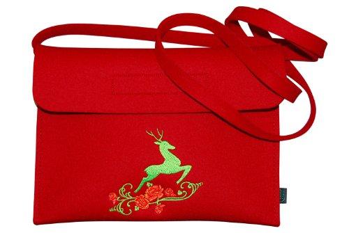 Krings fashion® Filztasche Tracht/Dirndltasche / Trachtentasche, Filzfarbe rot, mit Stickerei Hirsch, Qualität aus Deutschland