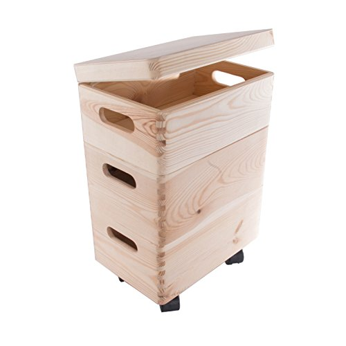 Search Box Lot de Trois Petits Boîtes empilables avec roulettes/Coffre de Rangement en Bois/Jouets Trunk