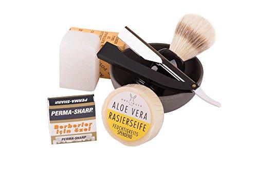 Rasurset -Exclusiv- 6-teiliges Rasierset für Männer -- Klassische Nassrasur -- Herren Geschenkset -- Hochwertiges Rasiermesser (Shavette) mit Wechsel-Klingen, Rasierseifenschale, Rasierpinsel, Rasierseife - für den anspruchsvollen Mann - Klinge nach Wahl (Perma-Sharp)