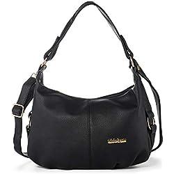 Bolsos Bandolera Bolso de Hombro de Mujer Cuero Bolsa de Mano Viaje Crossbody Messenger Bag con Muchos Bolsillos Negro + Katloo Cortaúñas