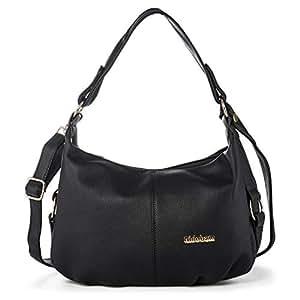 Borsa a Tracolla Donna Hobo Bag Borse a Mano  Donne Borsa Messenger Sacchetto Vintage Borsetta  in Pelle PU con Cerniera e Due Tracolle Katloo + Tagliaunghie (Nero)