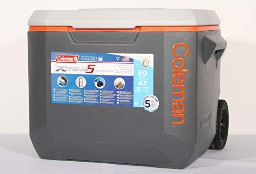 Coleman Xtreme Kühlbox 50 QT mit Rädern grau/orange 3000002598 -