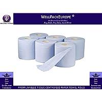 12rotoli di carta velina blu 2pieghe goffrato Centrefeed carta asciugamano rotoli–pulizia rotoli Next Day UK Delivery * * * * * * * * * * * visitare il nostro emozionante Amazon imballaggio catalogo–Search > Wellpack Europa