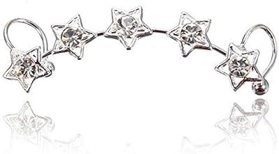 1 pc Pendiente de Cristal Estrella Cartílago Clip del Oído