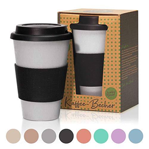 bambuswald© 450ml ökologischer Kaffeebecher to Go mit Silikondeckel   wiederverwendbarer & umweltfreundlicher Coffee-to-Go Becher für Tee & Kaffee aus Bambus - nachhaltiger Mehrwegbecher