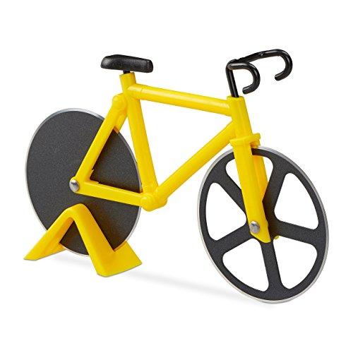 Relaxdays Fahrrad Pizzaschneider, lustiger Pizzaroller mit Schneiderädern aus Edelstahl, Cutter für Pizza & Teig, gelb