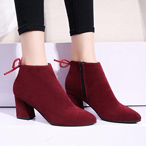 Women Martin Boots Plus Size Shoes, SOMESUN Donne Stivali Piazza Tacco Lace Up Stivaletti Martin High Heels Platform Boots Wine