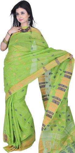 Exotic India Lime-Green Dhakai Saree from Kolkata with Hand-woven Paisle - Green