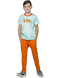 Night Suit for Kids / Boys - Night wear - Track Suits - Pyjama Tshirt Night Wear Combo Set-Sinker Material- Half Sleeve - Orange Color - Branded Valentine Kids Wear -For 6/8/10/12/14/16 Year Boys - Track Pant and T-shirt