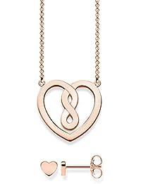 Thomas Sabo Damen-Halskette Herz mit Ohrring 925 Sterling Silber rosé gold 42 cm Schmuckverpackung SET0558-415-40-L42v