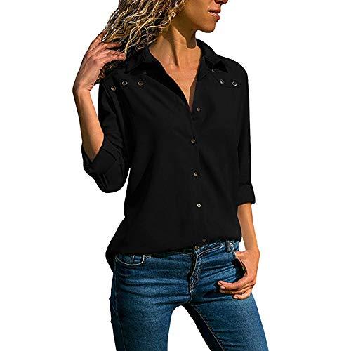 BHYDRY Frauen V-Ausschnitt Reine Farbe Taste Lange Ärmel Plus Size Tops Lose ()