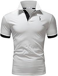 Glestore Polo Para Hombre Collar Camisa Golf MT1030 de Tenis Camiseta Azul Negro Gris Rojo M-XXL