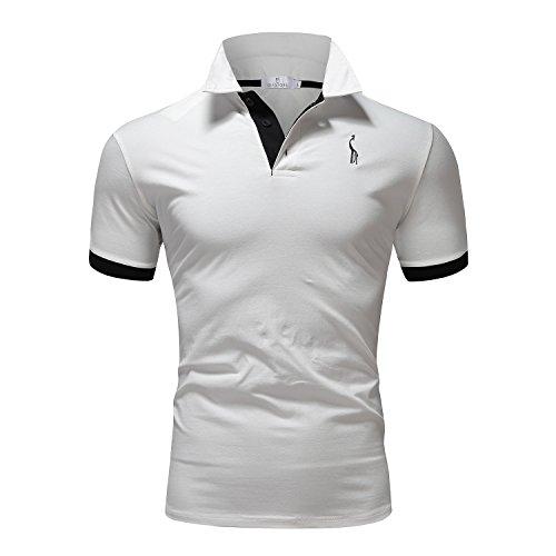Glestore Herren Poloshirt Einfarbig M - XXL Weiß